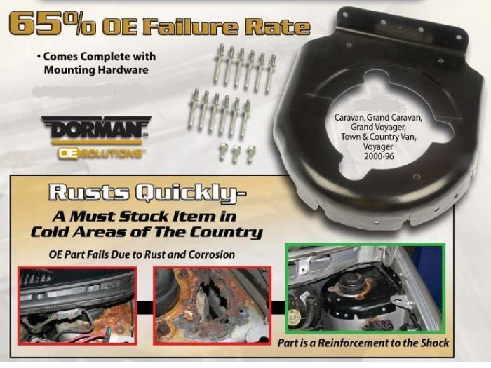 Left and Right 1996 - 2000 Plymouth Voyager Strut Tower Cap Repair Kit