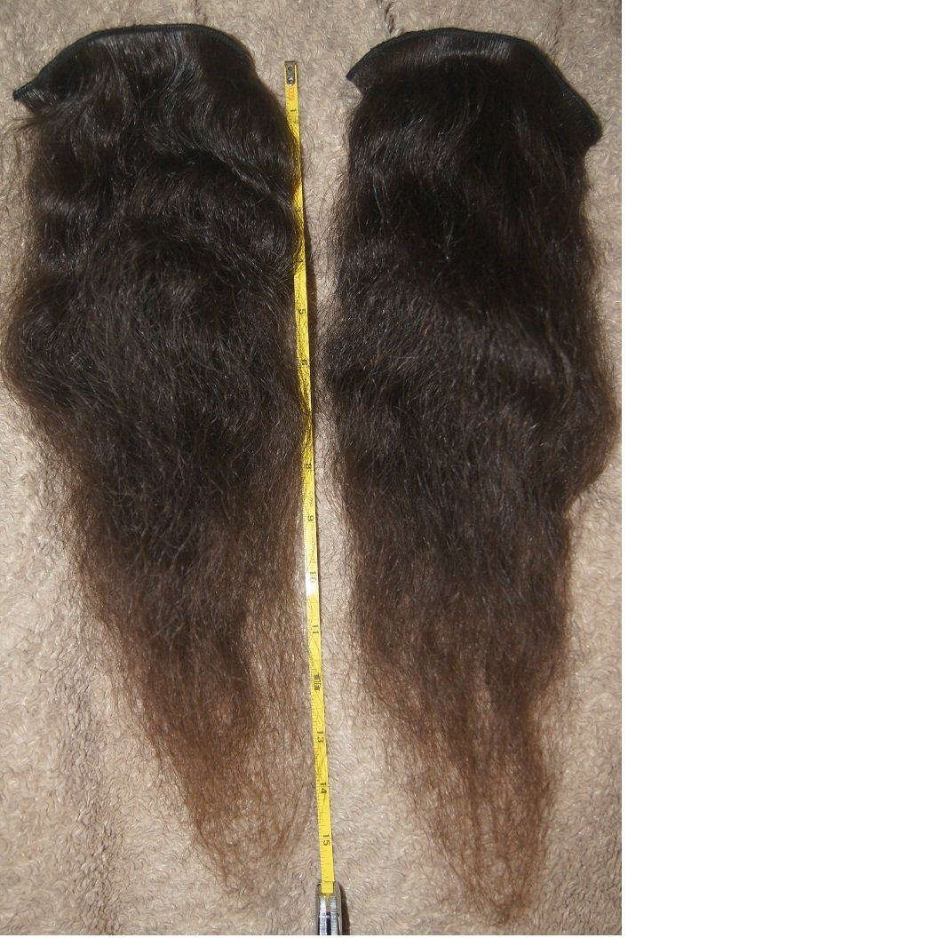 16 inch  remy extension curly dark brown human hair 90 inch long weft