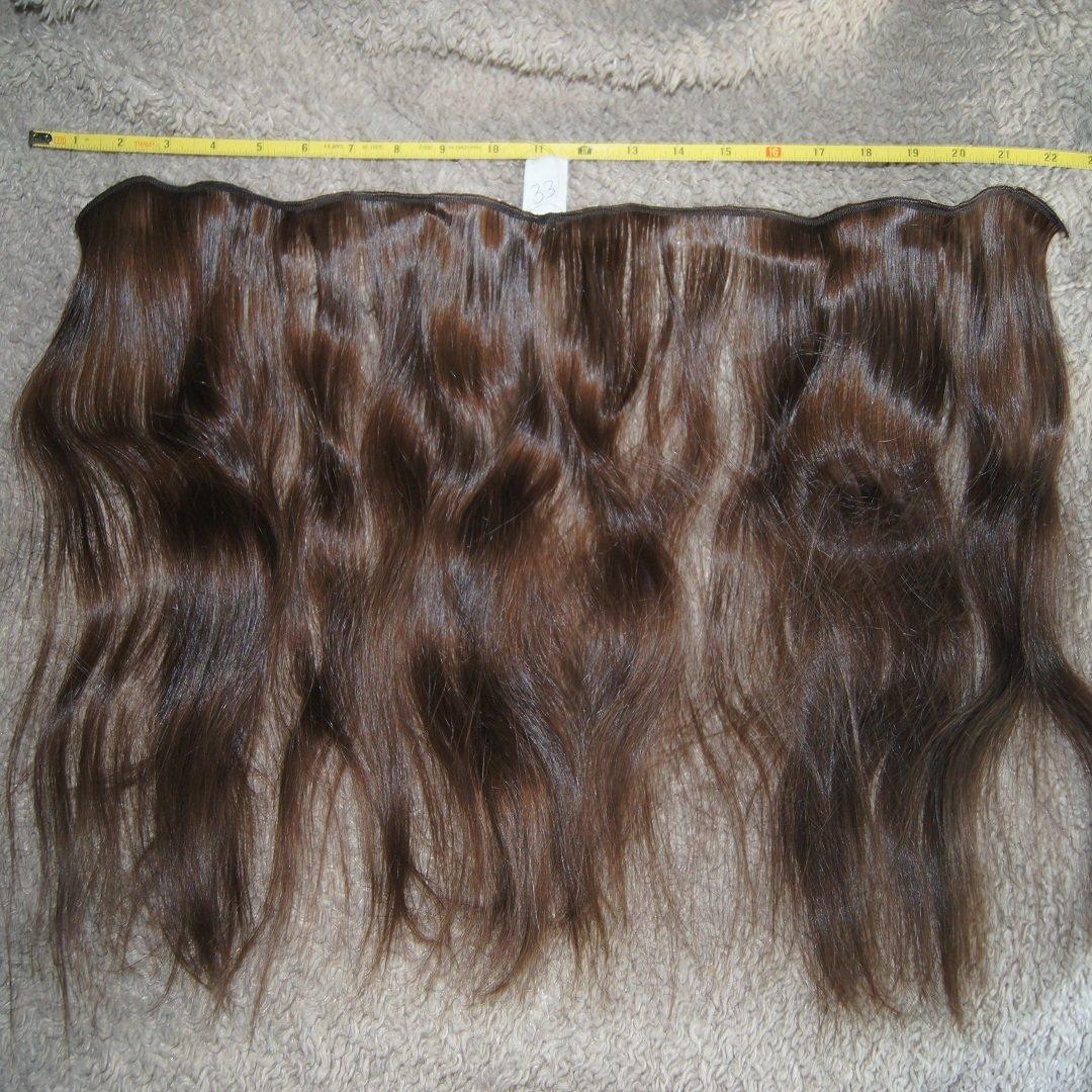 Human Hair Extension 13 inch raw virgin brown wavy human hair extension #33