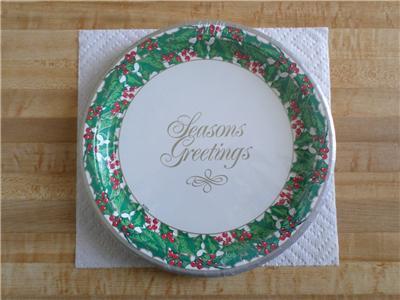 "Vintage Party House Christmas 10 1/4"" Paper Plates -8 in pkg-1998-Kara -napkins"