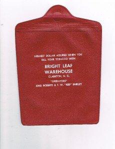 Vintage BRIGHT LEAF Warehouse Clarkton N C -Tobacco- Plastic Sales Ticket Holder