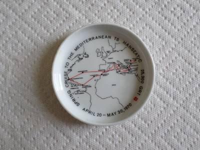 TS HANSEATIC Ashtray-Ship -Mediterranean Cruise April 20-1970 -Rosenthal Germany