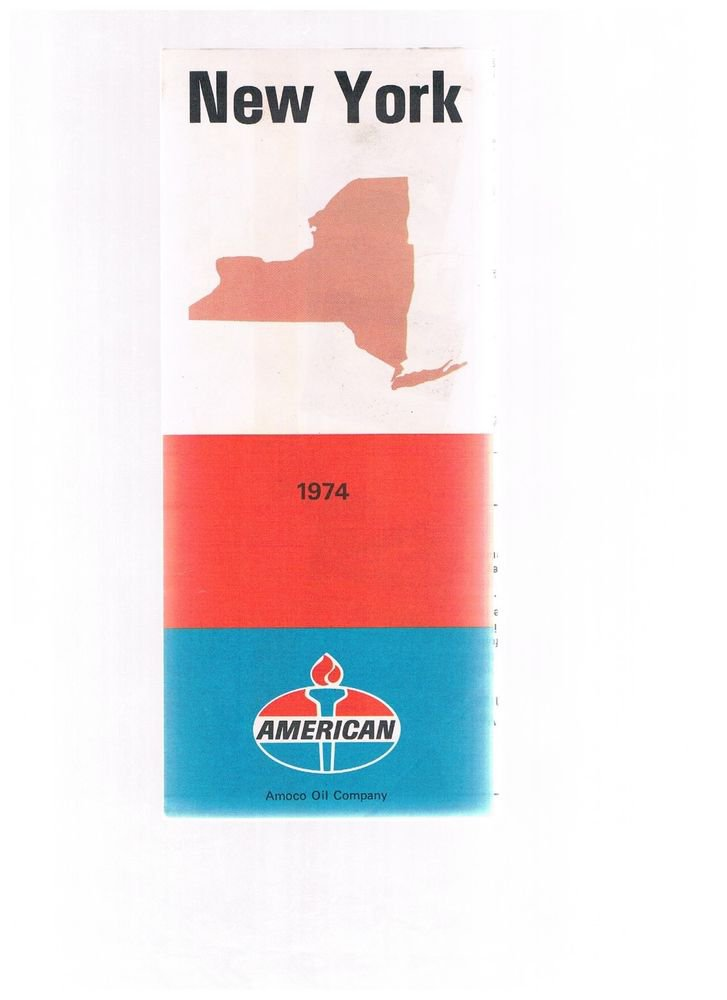 Vintage AMOCO New York Fold-out 1974 Road Map -Highway- Quaker State Oil  unused