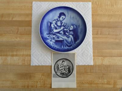 Bareuther Mother's Day Plate 1970 - Muttertag - Ludwig Richter - cobalt blue