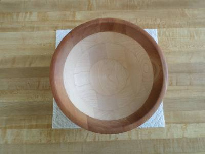 """Round Light Colored Wood 10"""" Nut Bowl - wooden"""