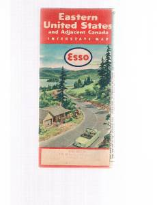 Vintage ESSO Eastern United States fold-out road map 1955-1956-Canada -Maritimes