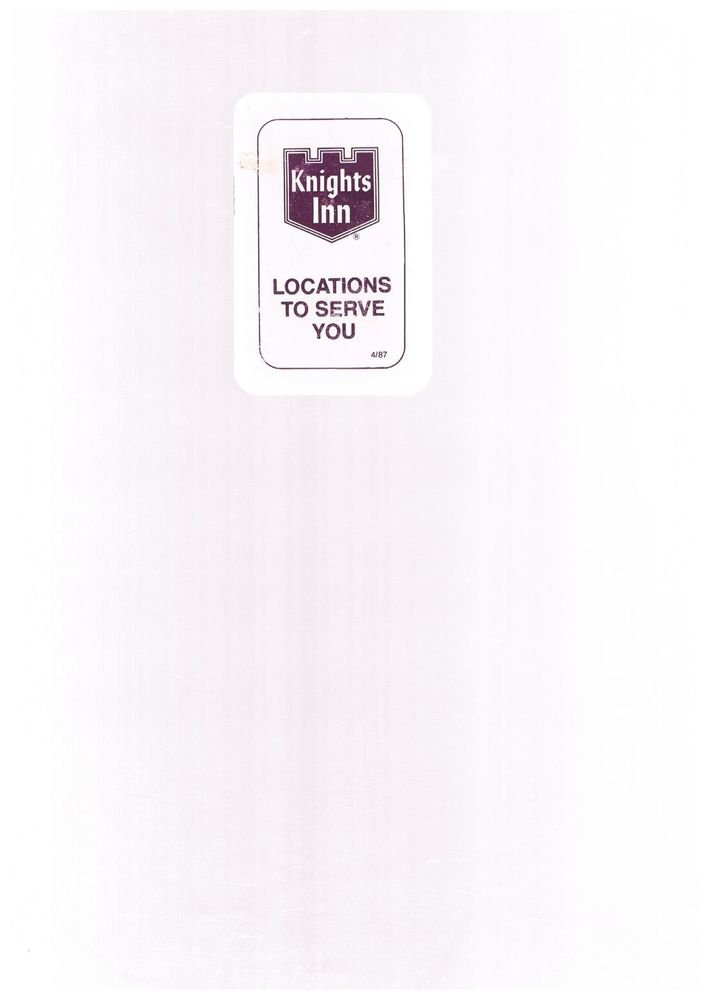 Vintage Knights Inn Locations April 1987 - small booklet - guide - motels