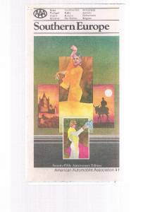 Vintage AAA Southern Europe fold-out road map - 75th Anniversary Edition 1977