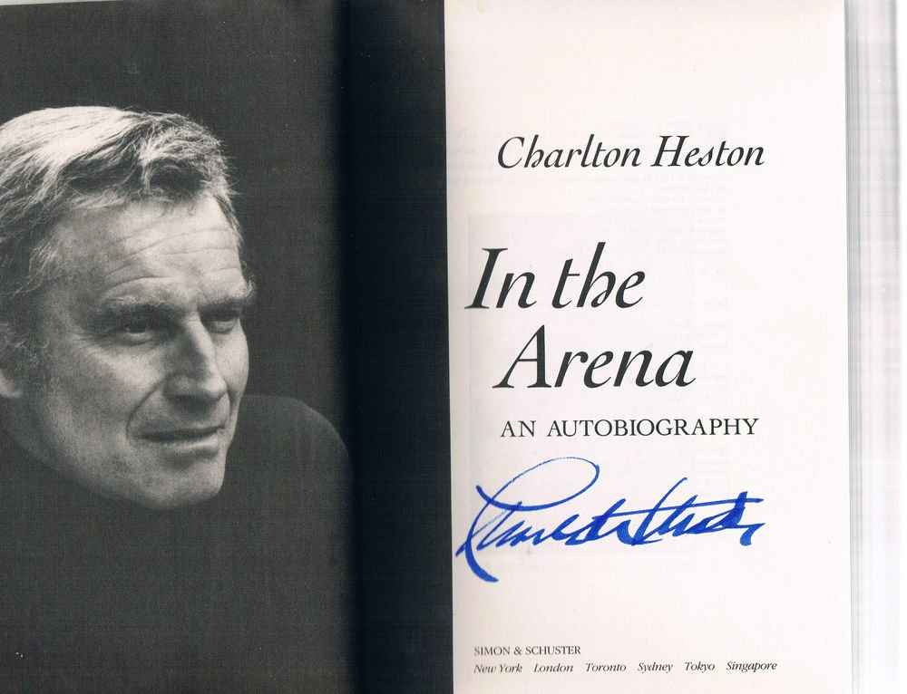 IN THE ARENA by Charlton Heston - Signed First Edition -Simon & Schuster Edition