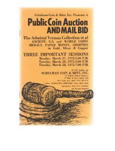 SCHULMAN Coin Auction Catalog 27 March 1972 -Admiral Vernon Collection -US-World