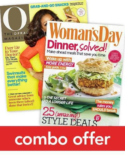 O, The Oprah Magazine/Woman's Day Combo Subscription 1 Year 22 Issues