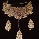 New Diamond Heavy Indian Wedding Necklace Set With Peral