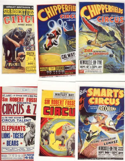 Circus Posters on a set of 6 Dalkeith Postcards