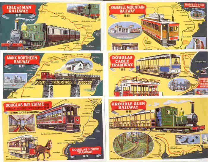12 Original Lines on the Isle of Man set of 6 Dalkeith Postcards - FREE Shipping