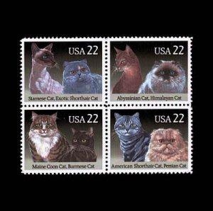 USA Cats se-tenant block of 4, mnh