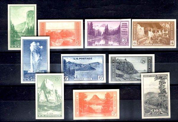 USA National Parks Set, Imperf Scott #756-65, mint