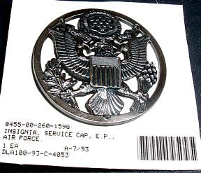 USAir Force Enlisted Personnel Cap Badge, obsolete