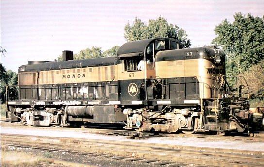 Monon RS2 ALCO switcher, railroad postcard