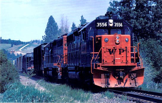 Western Pacific GP40 locomotives, railroad postcard