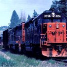 Western Pacific GP40 locomotives, railroad postcard