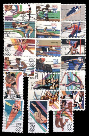 US Olympics issues 5 complete used sets, 20 stamps
