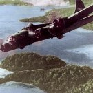 WWII B-17 Bomber over the Solomon Islands, military aircraft postcard