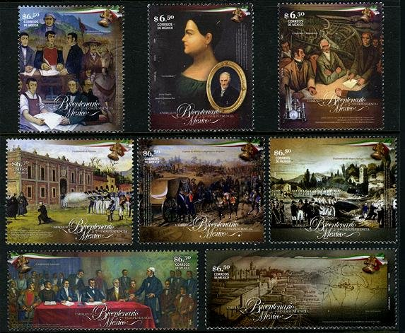Mexico Bicentennial of Independence, new issue set of 8 stamps, mnh