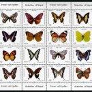 Butterflies, Nepal sheet of 16 different stamps, mnh