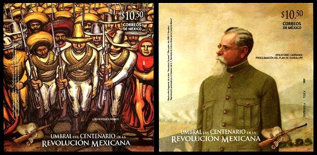 Mexican Revolution, set of 2 souvenir sheets, mnh
