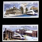 Turkey railway stations, trains, new issue set of 2, mnh