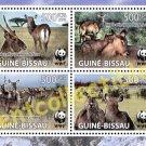 Guinea Bissau WWF Defassa Waterbuck, block of 4 setenant stamps, mnh