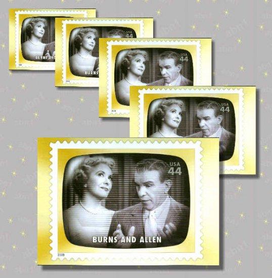 Burns & Allen, 5 TV Memories Postcards, mint