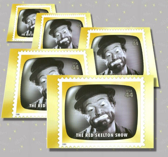 The Red Skelton Show, 5 TV Memories Postcards, mint