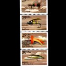 Fishing Flies, 1991 booklet pane of 5 stamps, mnh