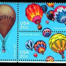 Hot Air Balloons plate block of 4, mnh