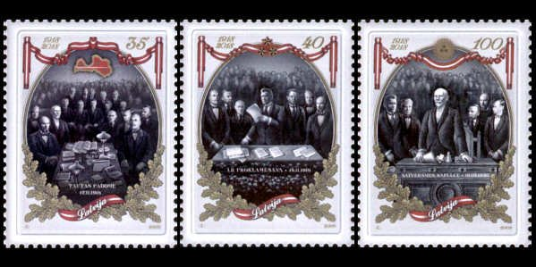 Latvia 100 years of the republic, set of 3 stamps, mnh 2009