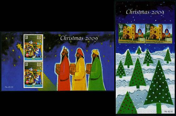 Christmas 2009 Sri Lanka set of 2 souvenir sheets, mnh