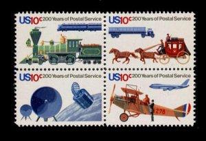 USA 200 years of Postal Service block of 4, mnh.