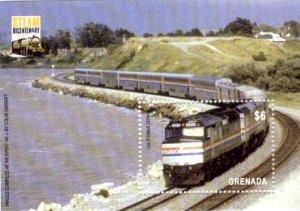 Grenada Scott #3548 Amtrak Passenger Train souvenir sheet