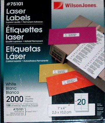 Laser Address Labels, WilsonJones #75101 1 x 4 inch box of 2000 sealed.