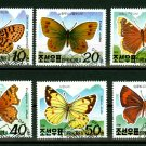 Butterflies set of 6 stamps, 1991 N Korea, canceled