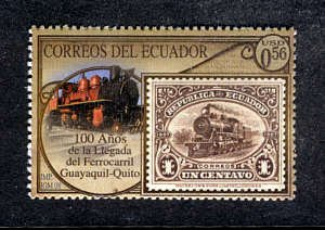 ECUADOR - 100 Years Guayaquil-Quito Train, stamps-on-stamp, MNH