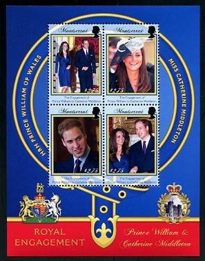 Royal Wedding William & Kate Montserrat mini sheet + souvenir sheet