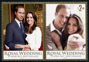 William & Kate Royal Wedding New Zealand setenant pair + souvenir sheet