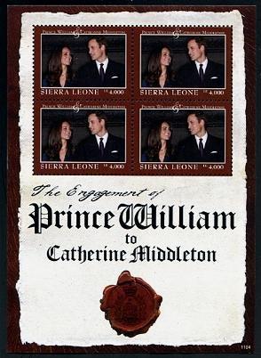 William & Kate Royal Wedding Sierra Leone mini sheet + souvenir sheet