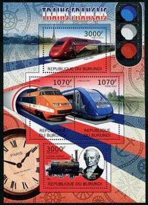French Trains souvenir sheet + mini sheet, mnh