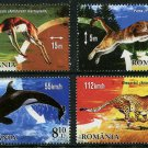 Champions of Wildlife set of 4 mnh stamps Romania 2015 Sprinkbok Puma Leopard Whale