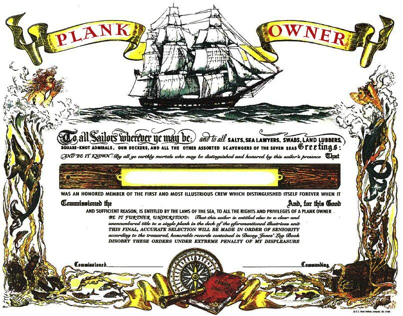 Plank Owner Certificate Unused Mint Naval