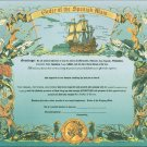 Order of the Spanish Main Certificate unused mint, from the US Naval Institute
