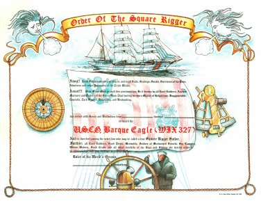 Order of the Square Rigger Certificate unused mint, from the US Naval Institute
